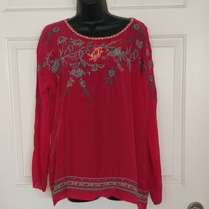 Johnny Was Pink Embroidered Top